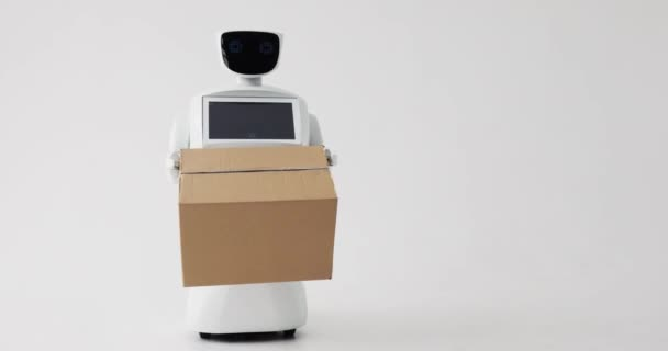 robot doručí balík. koncept dodávky. Moderní robotická technologie.