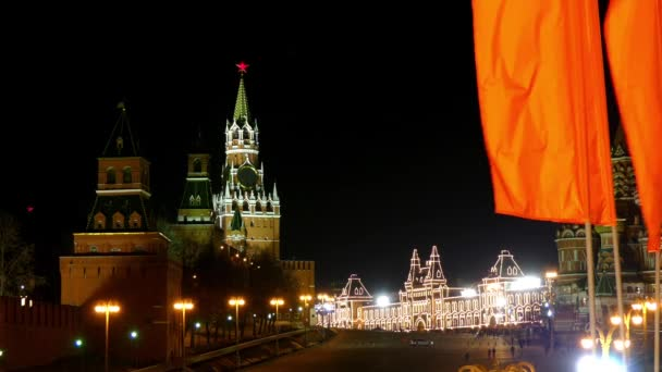 Spasskaya (Saviour) Tower is main tower with through-passage on eastern wall of Moscow Kremlin, which overlooks Red Square, Moscow, Russian Federation.