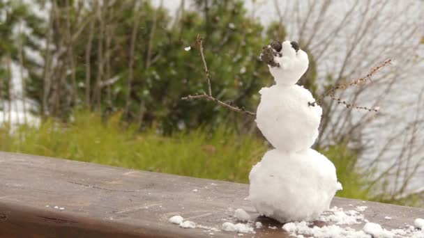 little snowman stands on a wooden bench near the city pond