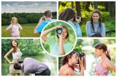 Fotocollage Junge Frauen und Männer werden von einer professionellen Kamera fotografiert.