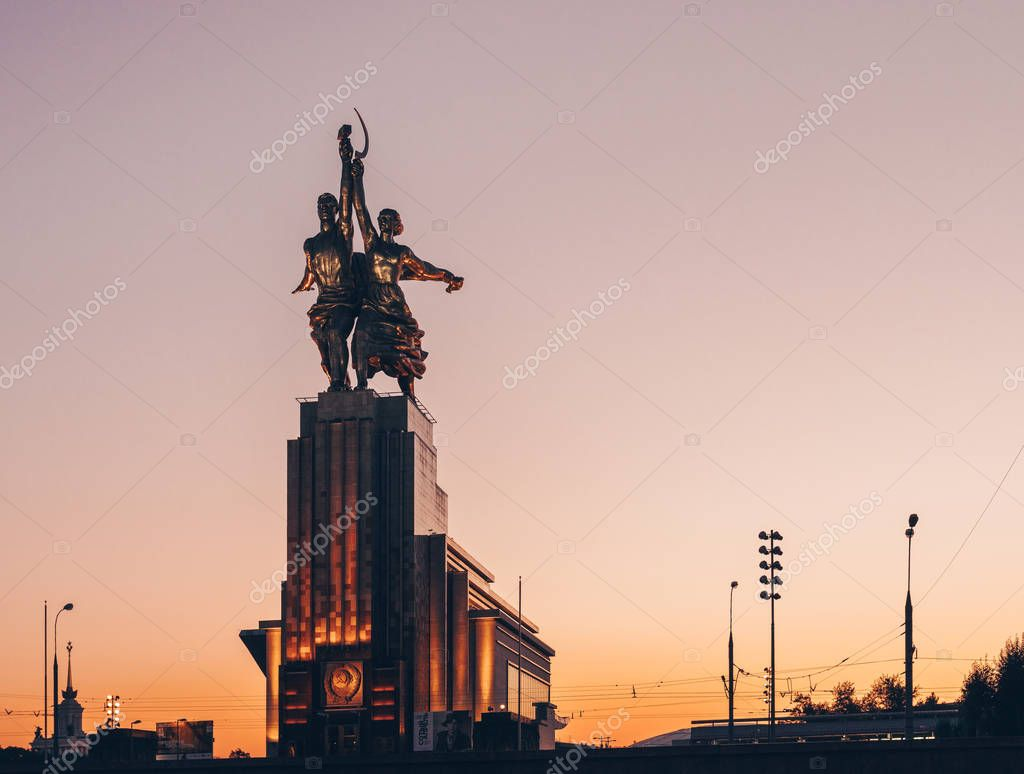 The monument Worker and Collective Farm Girl. Moscow. Russia. Summer 2018