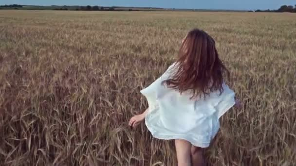 Happy young woman in a field