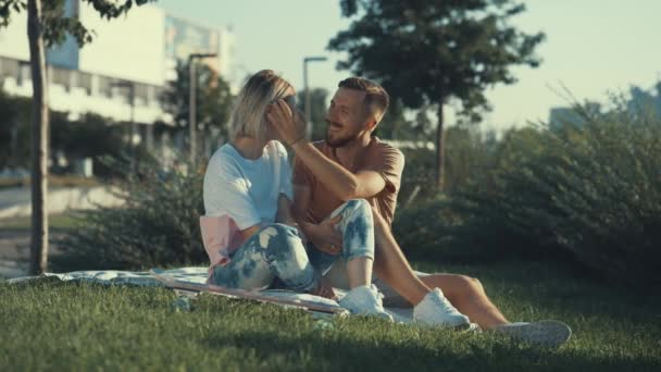 Young attractive couple outdoors