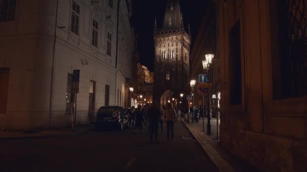 Tourists on the night street in Poland