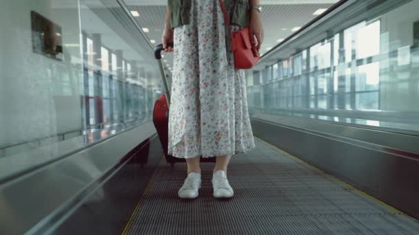 Attractive girl in a dress with a suitcase