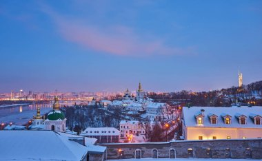 Kiev-Pechersk Lavra in winter, evening view, Kyiv, Ukraine