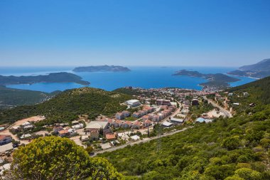 Aerial panoramic view of popular resort city Kas in Turkey