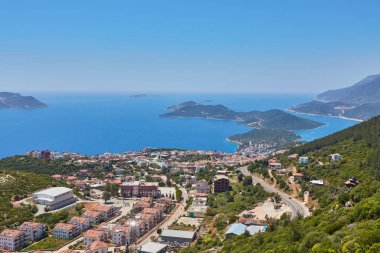 Aerial view of popular resort city Kas in Turkey, Turkish Riviera also known as Turquoise Coast, clear warm sea, sunny weather