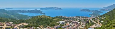 Aerial panoramic view of popular resort city Kas in Turkey