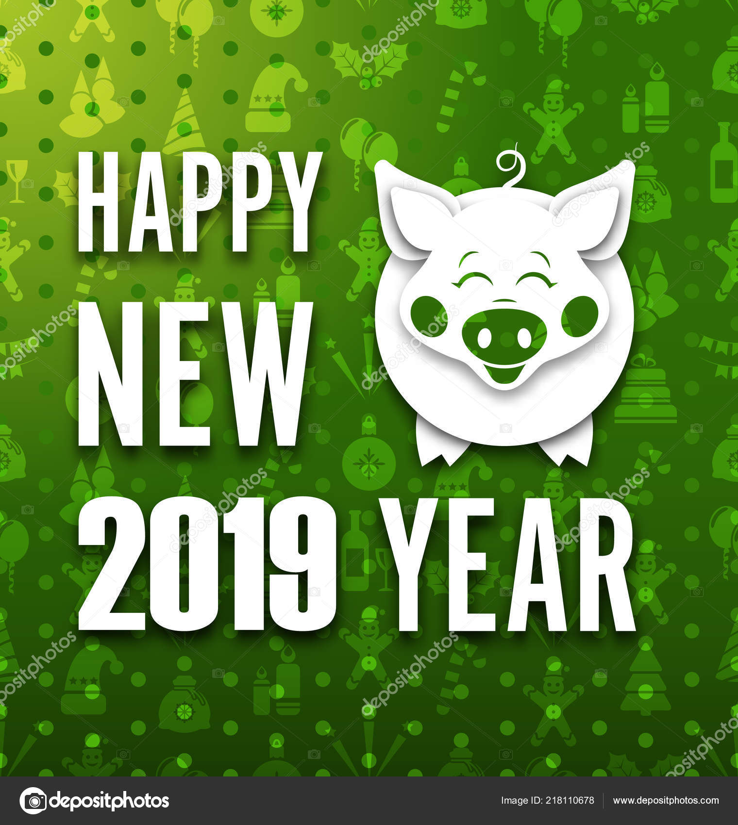 happy new year card with cut paper pig greeting banner stock vector