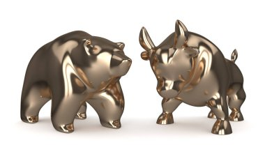 3d render of bull and bear isolated over white background. Stock market symbols concept