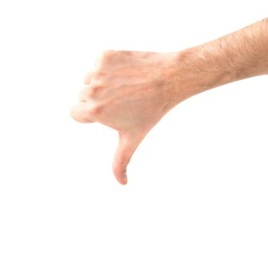 Dislike hand with thumb down isolated on white background