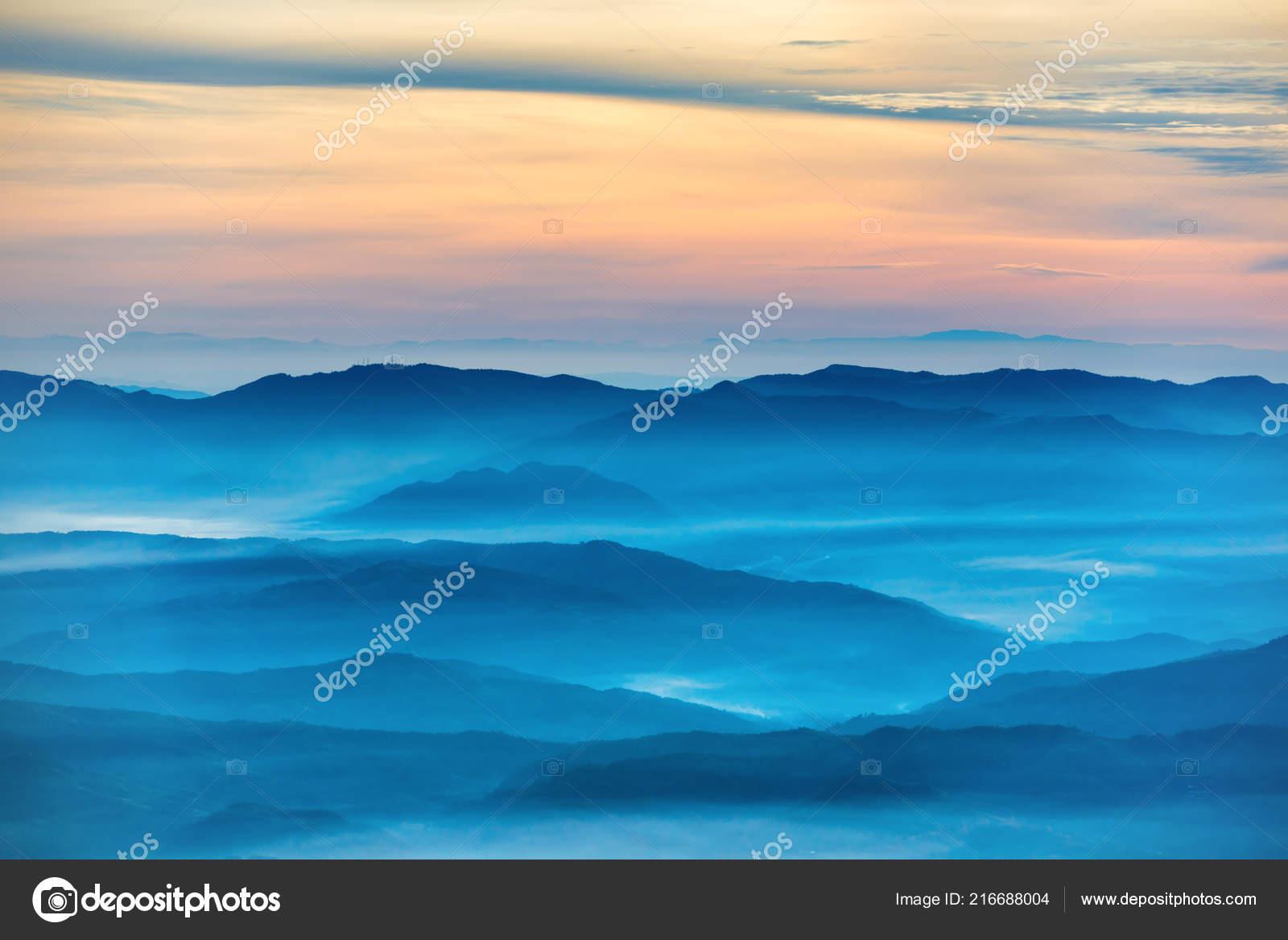 Blue Mountains Hills Beautiful Orange Sunset Stock Photo