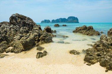 """Картина, постер, плакат, фотообои """"тропический морской пейзаж с скалистым островом """", артикул 268781512"""