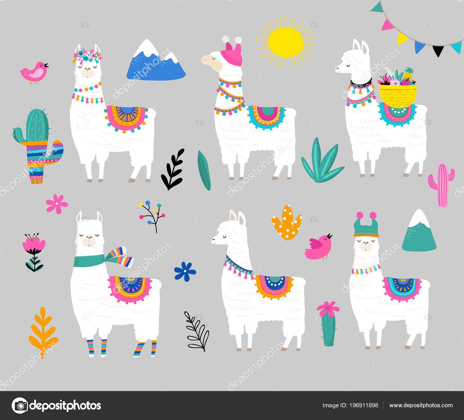 Llama collection cute hand drawn illustration and design for llama collection cute hand drawn illustration and design for nursery design poster birthday greeting card vector by marish m4hsunfo