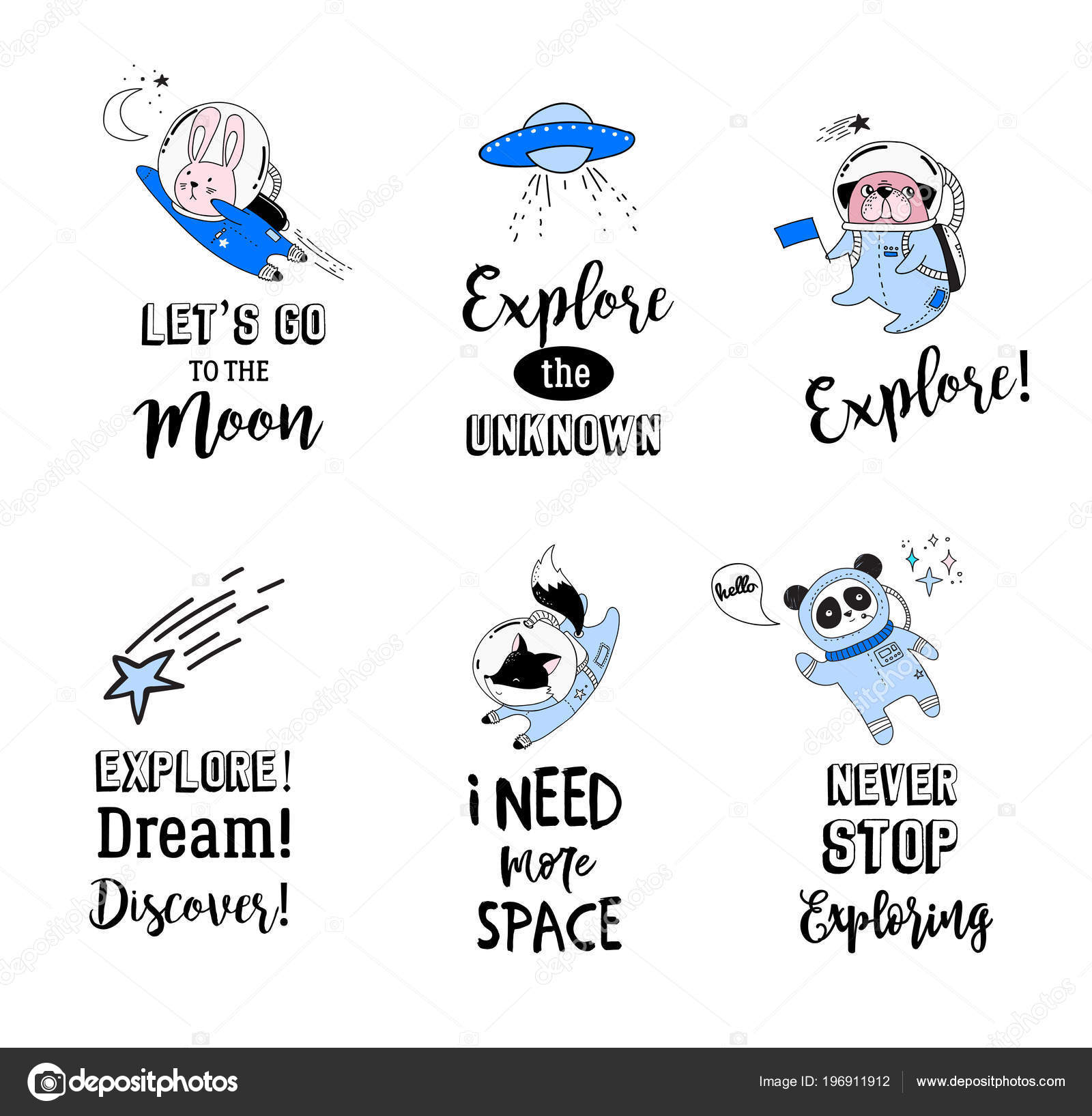 Outer Space concept quotes. Cute animals astronauts in ...