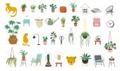 Urban jungle, trendy home decor elements with plants, planters, cacti, tropical leaves