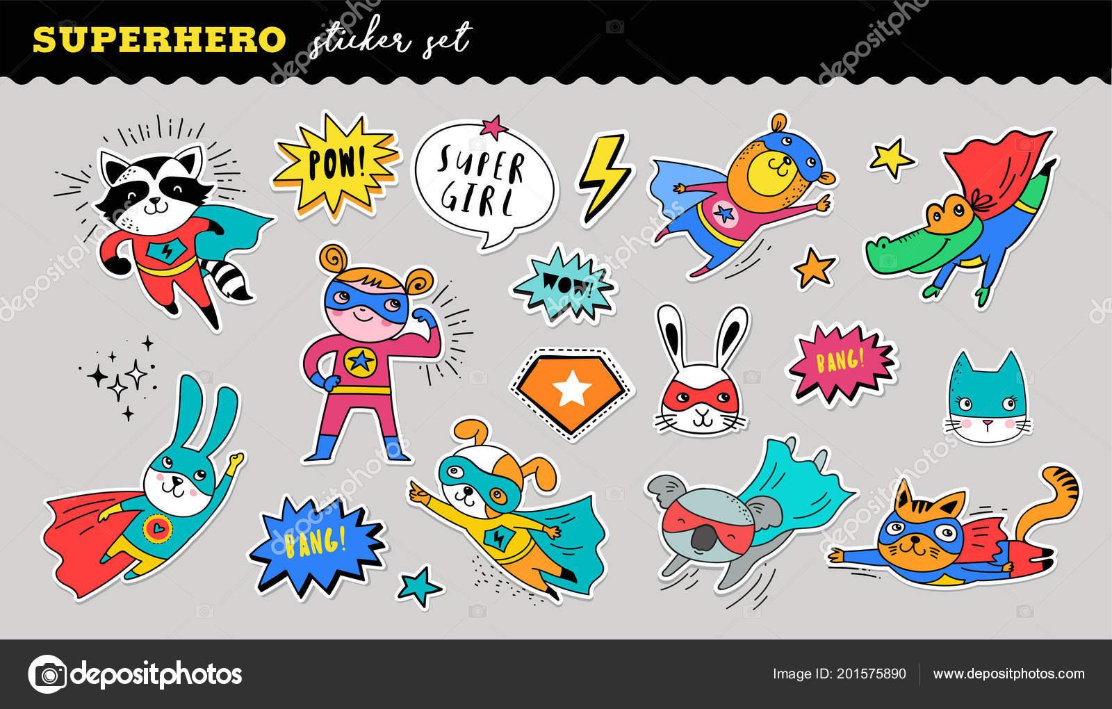 Superhero niedliche Sticker Kollektion. Vektor handgezeichnete  Illustrationen 30