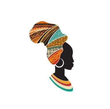 African woman silhouette with an African map as a head wrap. Concept design and illustration clip art vector