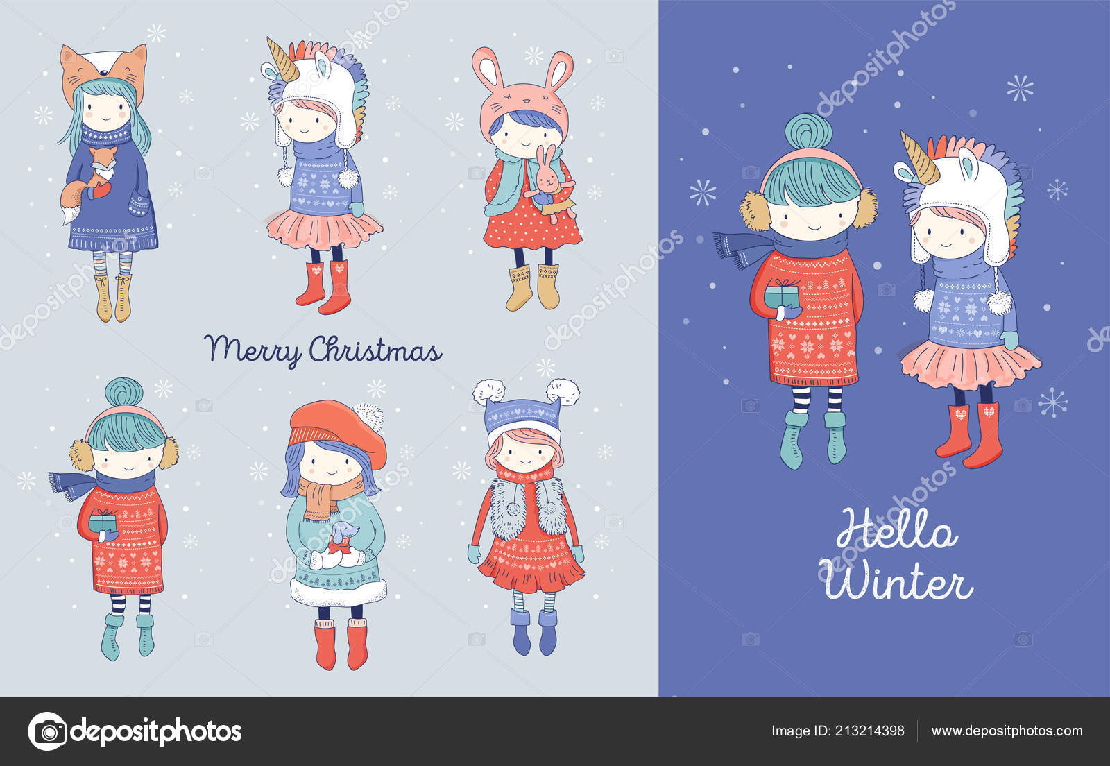 Hand drawn beautiful cute little winter girls collection. Merry ...