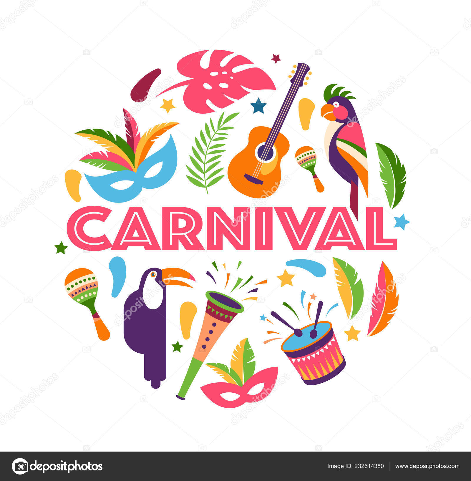 Brasilianischen Karneval Musikfestival Maskerade Flyer Vorlage