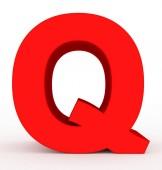 písmeno Q 3d červená izolované na bílém - 3d vykreslování