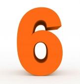 číslo 6 3d čisté oranžové izolované na bílém - 3d vykreslování