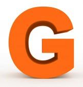písmeno G 3d čistá oranžová izolované na bílém - 3d vykreslování