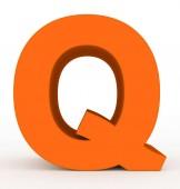 písmeno Q 3d oranžová izolované na bílém - 3d vykreslování