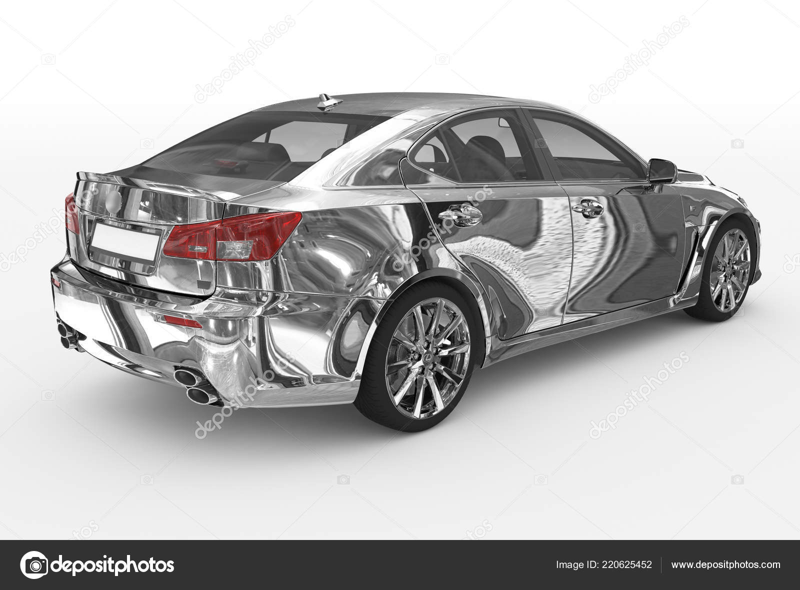 Car Isolated White Chrome Transparent Glass Back Right Side