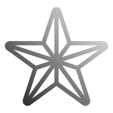 Star symbol icon - gray gradient outline, 5 pointed rounded, iso