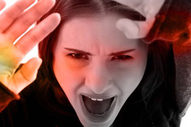 Close up on scared victim woman face. stock vector