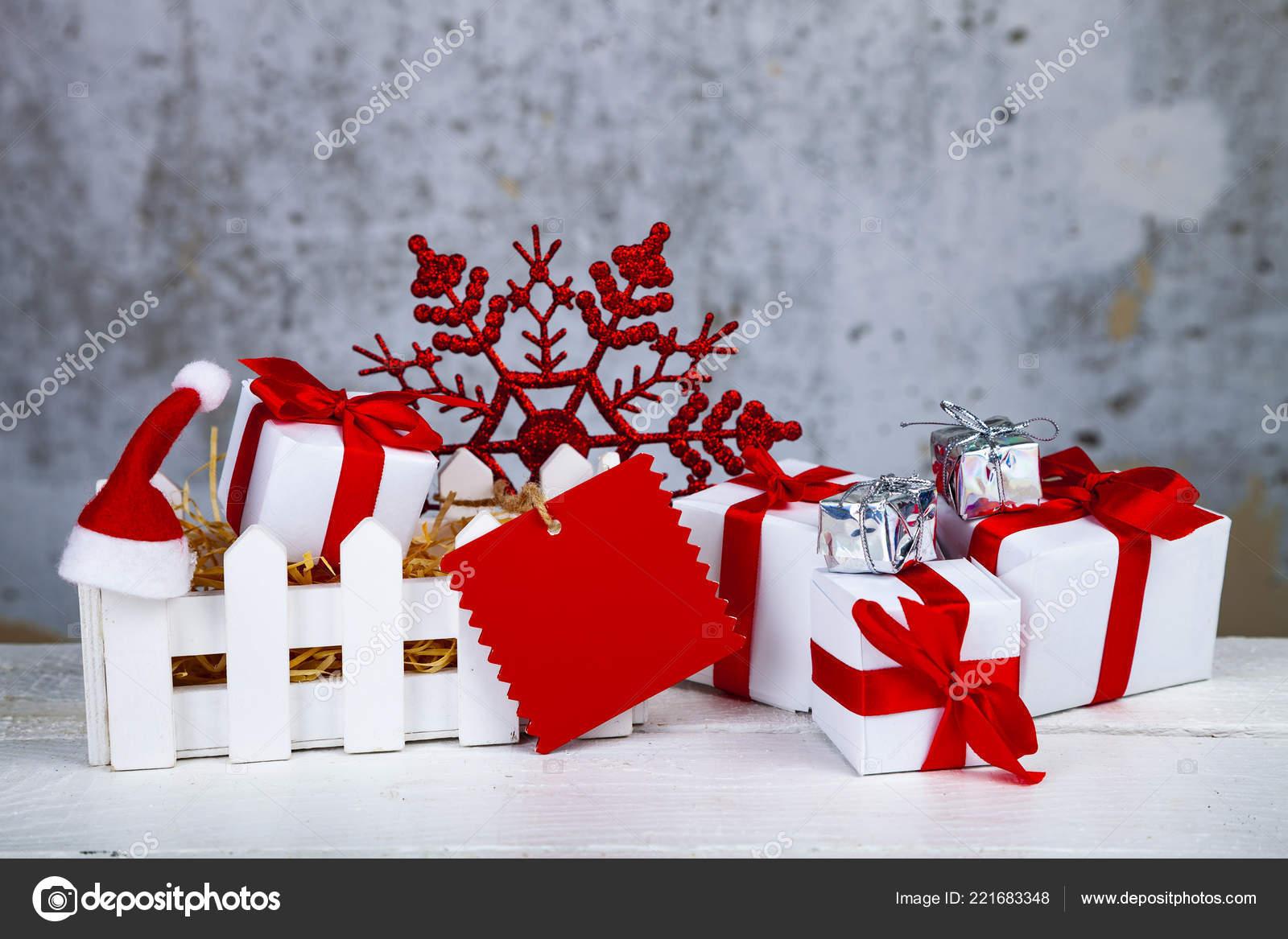 Christmas Gifts Decorations White Box Grunge Background Christmas ...