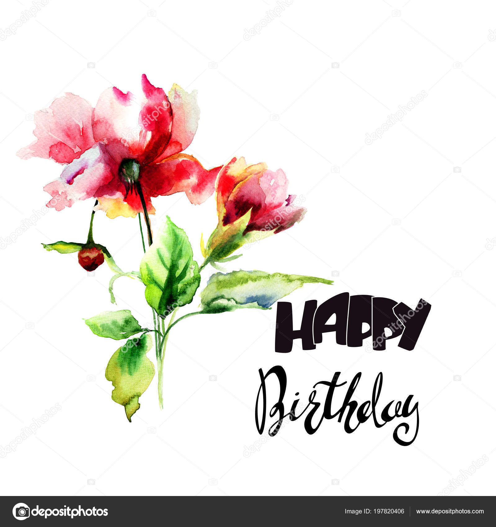 floral watercolor illustration flowers title happy birthday template