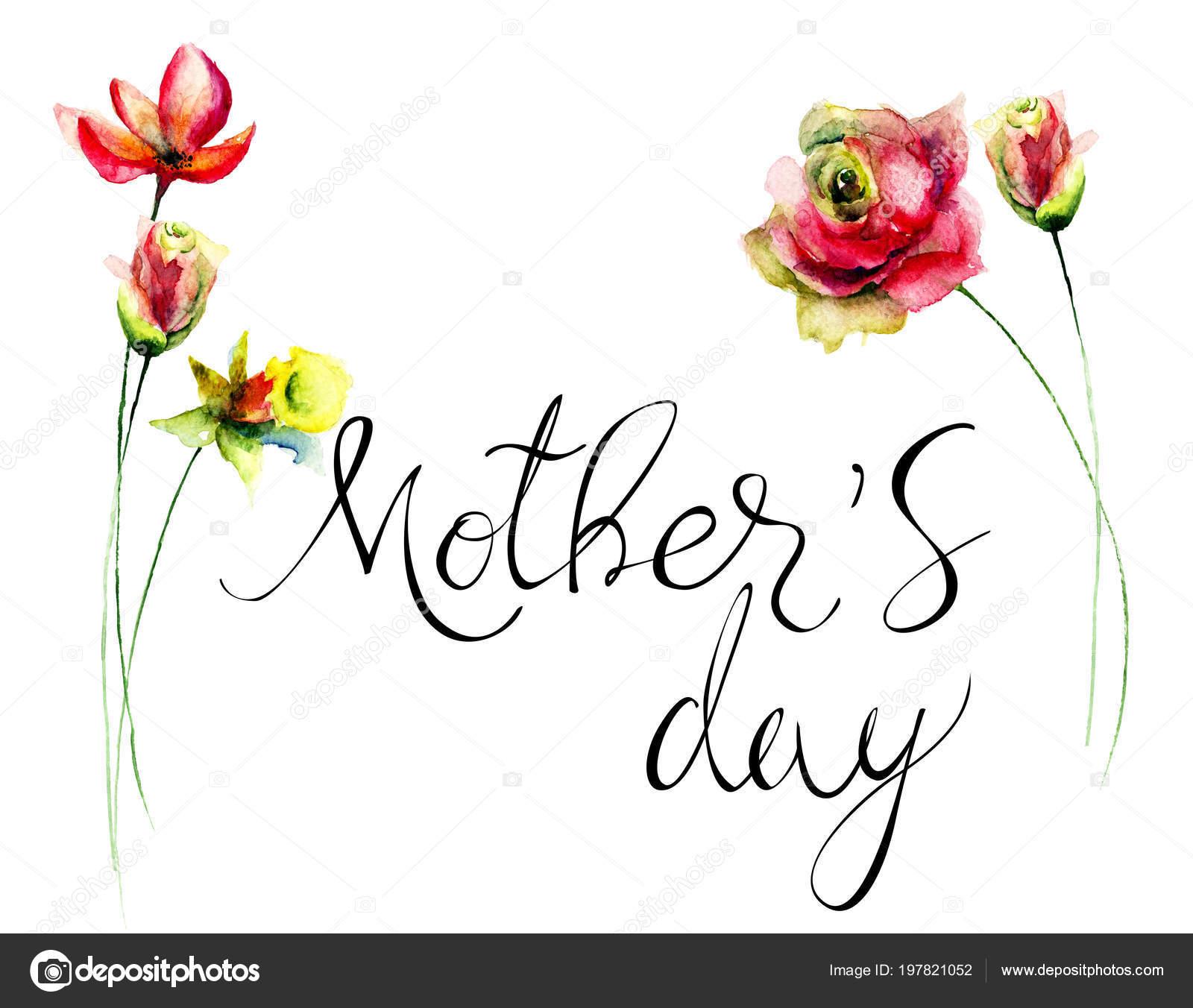 Başlık Anneler Günü Sulu Boya Illustratio Ile özgün Yaz çiçek Stok