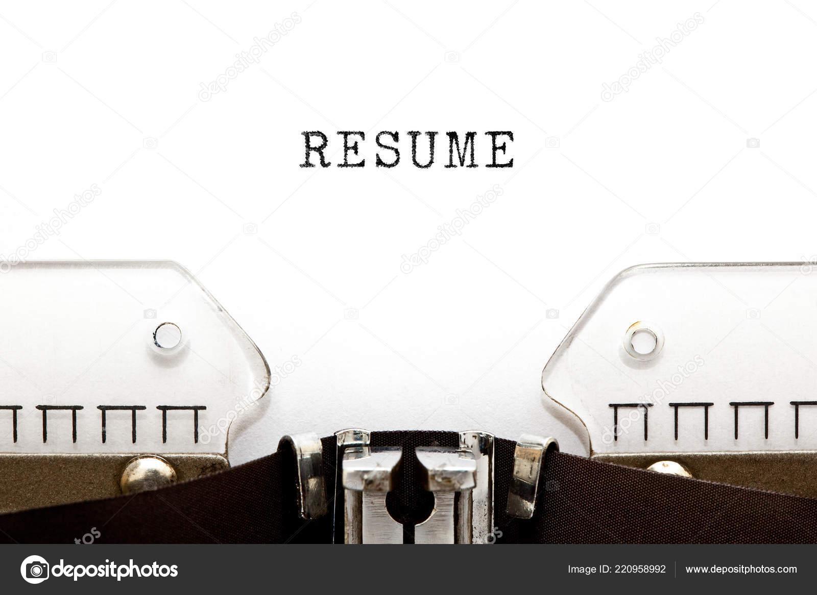 Das Wort Eingegeben Lebenslauf Auf Retro Schreibmaschine Mit