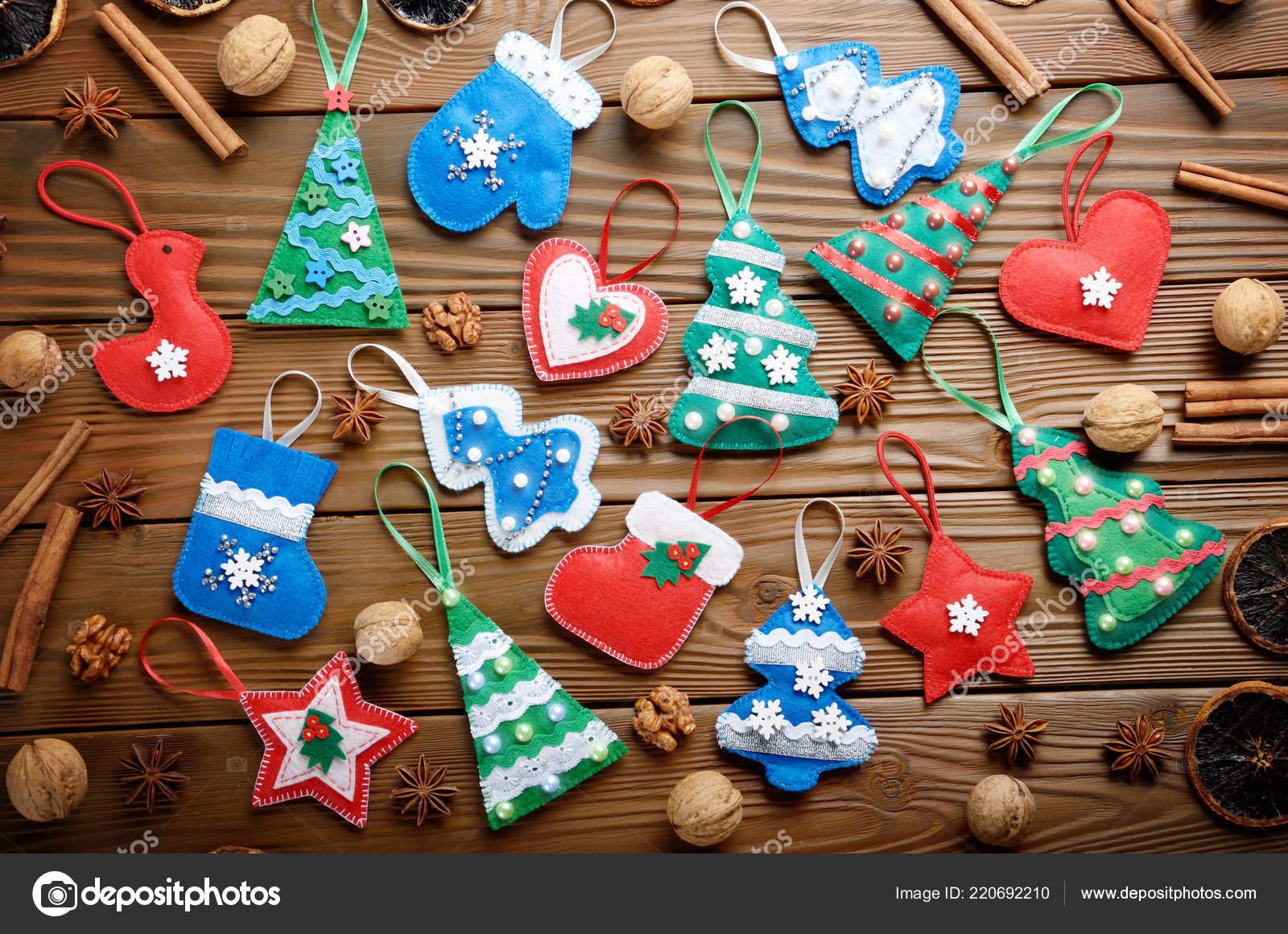 Assorted Handmade Rustic Felt Christmas Tree Decorations Anise Cinnamon Walnuts Stock Photo C E Mikh 220692210