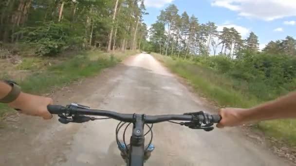 Jízda na horském kole enduro na skalnaté cestě mezi zelenými poli. Pohled z pohledu první osoby Pov. 4k gimbal stabilizované video, Gopro Hero 7 černá.