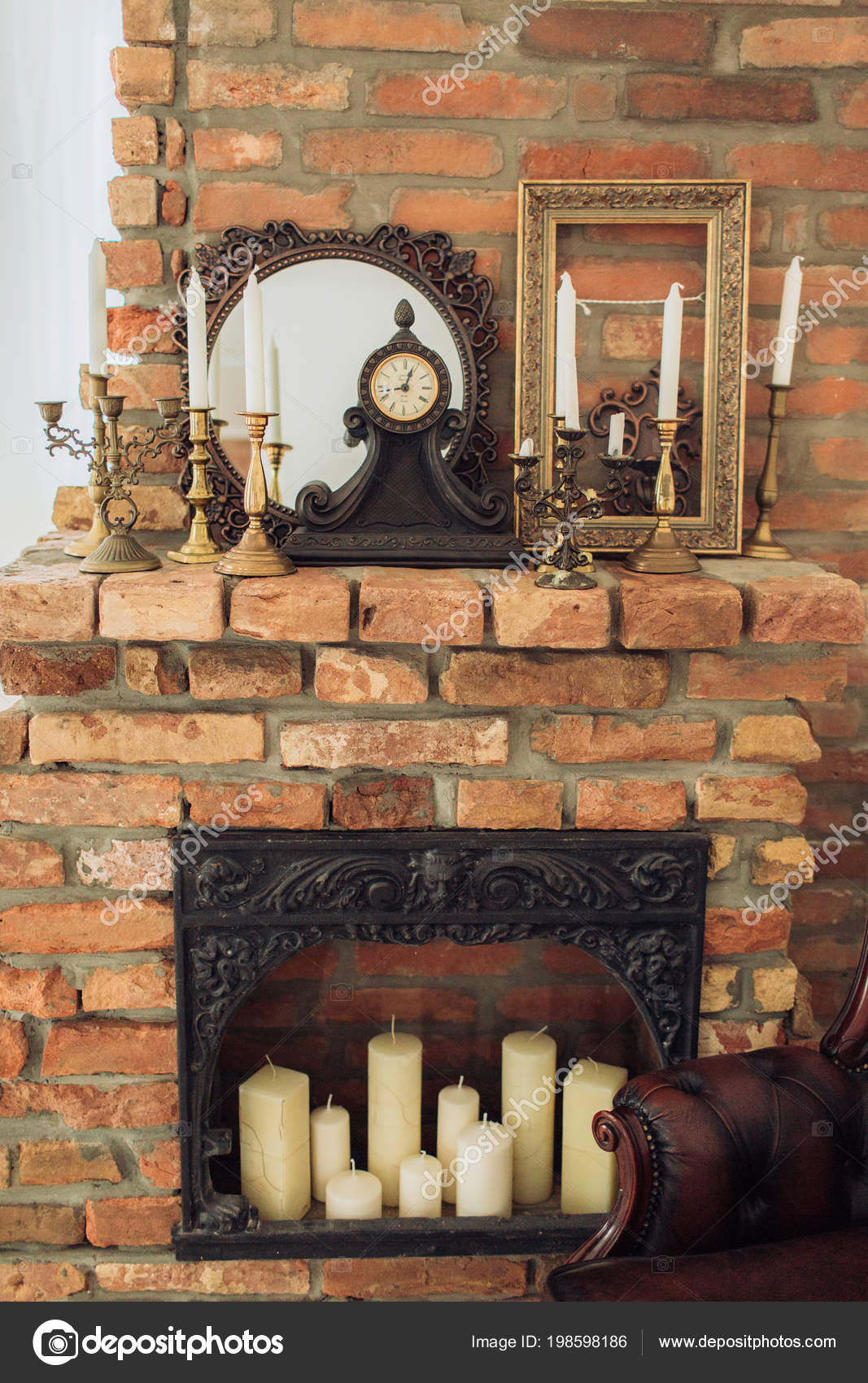 Classical Style Fireplace Candles Vintage Room Stock Photo