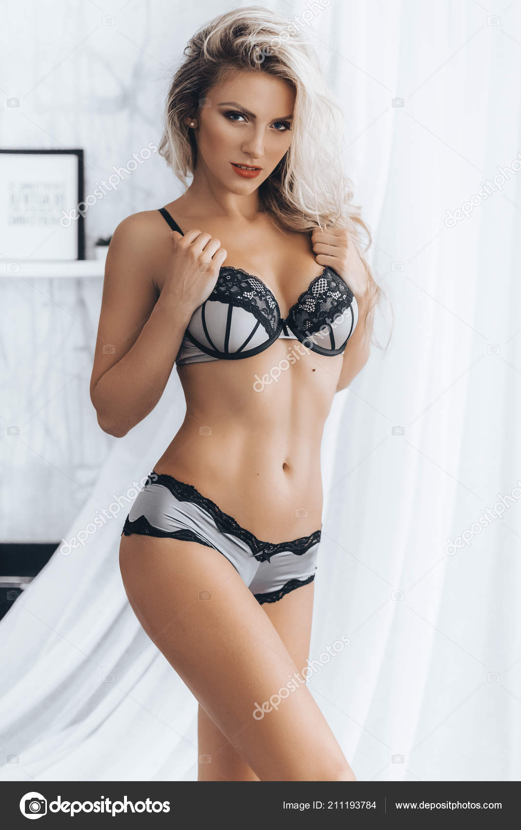Beautiful Young Woman Posing Sexy Lingerie Studio Stock Photo Image By C Forewer 211193784