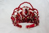 beautiful crown of queen with red  jewel of precious stones