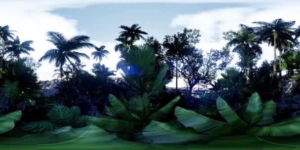 vr 360 camera moving shot of a lush tropical jungle in a sun