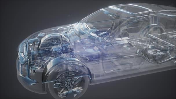 Holografické animace 3d drátový model auta