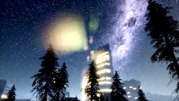 město skyscrapes v noci se hvězdy Mléčné dráhy