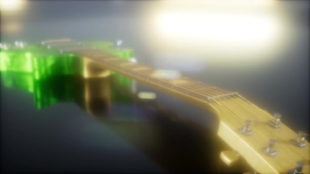 elektromos gitár a sötétben fényes fényekkel