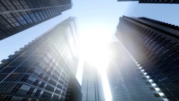 Blickte zu Manhattan Wolkenkratzer bei Sonnenuntergang, New York City, Usa.
