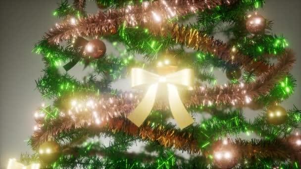 Radostné studio záběr vánoční strom s barevnými světly