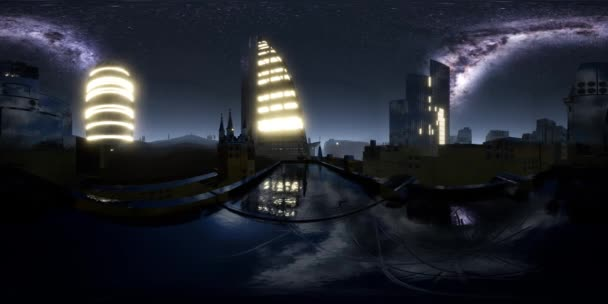 City Skyline éjjel a csillagos ég alatt. Vr360