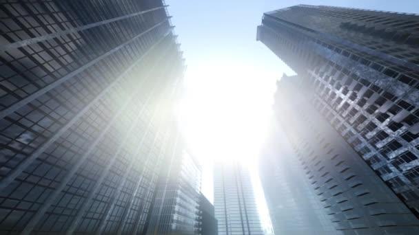 Felnézett a felhőkarcolók Manhattan, a naplemente, New York City, Amerikai Egyesült Államok.