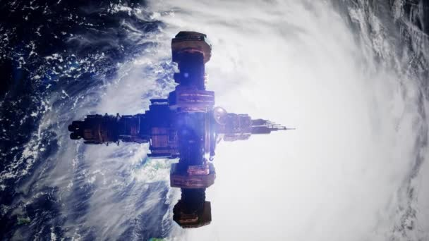 4K ISS. International Space Station Orbiting Earth. Elements of this image furnished by NASA